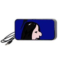 Girl And Bird Portable Speaker (black)  by Valentinaart