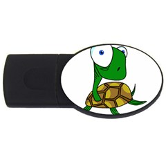 Turtle Usb Flash Drive Oval (2 Gb)  by Valentinaart