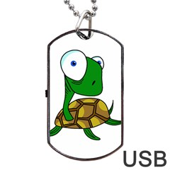 Turtle Dog Tag USB Flash (Two Sides)  by Valentinaart