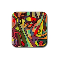 Colorful Dream Rubber Coaster (square)  by Valentinaart
