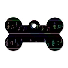 Music Pattern Dog Tag Bone (one Side) by Valentinaart