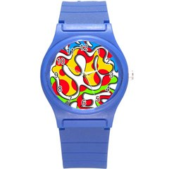 Colorful Graffiti Round Plastic Sport Watch (s) by Valentinaart