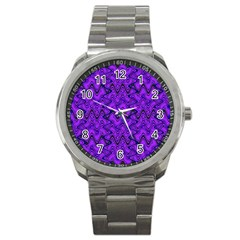 Purple Wavey Squiggles Sport Metal Watch by BrightVibesDesign