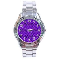 Purple Wavey Squiggles Stainless Steel Analogue Watch by BrightVibesDesign
