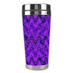 Purple Wavey Squiggles Stainless Steel Travel Tumblers by BrightVibesDesign