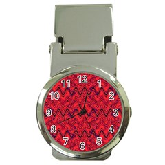 Red Wavey Squiggles Money Clip Watches by BrightVibesDesign