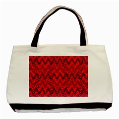 Red Wavey Squiggles Basic Tote Bag by BrightVibesDesign