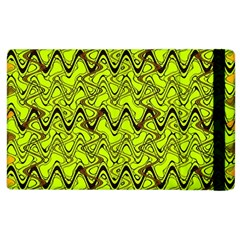 Yellow Wavey Squiggles Apple Ipad 2 Flip Case by BrightVibesDesign