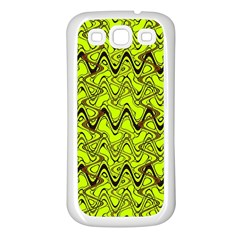 Yellow Wavey Squiggles Samsung Galaxy S3 Back Case (white) by BrightVibesDesign