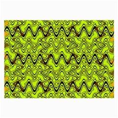 Yellow Wavey Squiggles Large Glasses Cloth (2 Side) by BrightVibesDesign
