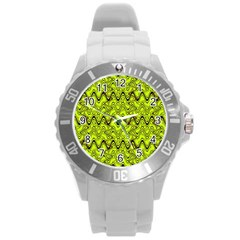 Yellow Wavey Squiggles Round Plastic Sport Watch (l) by BrightVibesDesign