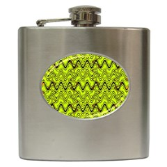 Yellow Wavey Squiggles Hip Flask (6 Oz) by BrightVibesDesign