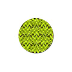 Yellow Wavey Squiggles Golf Ball Marker by BrightVibesDesign