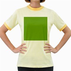 Sushi Green Colour Women s Fitted Ringer T-Shirts
