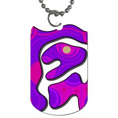 Purple Graffiti Dog Tag (one Side) by Valentinaart
