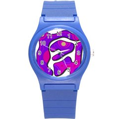 Purple Graffiti Round Plastic Sport Watch (s) by Valentinaart