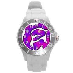 Purple Graffiti Round Plastic Sport Watch (l) by Valentinaart