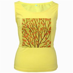 Cherry tree Women s Yellow Tank Top by Valentinaart