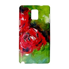 Floral  Red On Green Samsung Galaxy Note 4 Hardshell Case by artistpixi