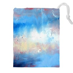 Abstract Blue And White Art Print Drawstring Pouches (xxl) by artistpixi