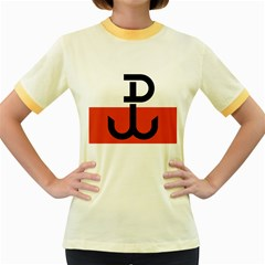 Flag of the Polish Underground State, 1939-1945 Women s Fitted Ringer T-Shirts