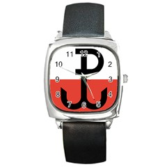 Flag Of The Polish Underground State, 1939 1945 Square Metal Watch by abbeyz71