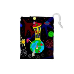 Colorful Universe Drawstring Pouches (small)  by Valentinaart
