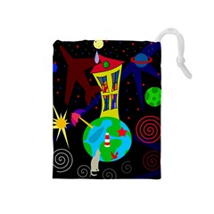 Colorful Universe Drawstring Pouches (medium)  by Valentinaart