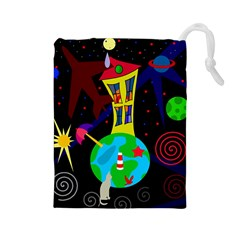 Colorful Universe Drawstring Pouches (large)  by Valentinaart