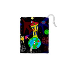 Colorful Universe Drawstring Pouches (xs)  by Valentinaart