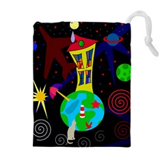 Colorful Universe Drawstring Pouches (extra Large) by Valentinaart