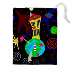 Colorful Universe Drawstring Pouches (xxl) by Valentinaart