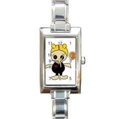 Cute Doll Girl Rectangle Italian Charm Watch by Valentinaart