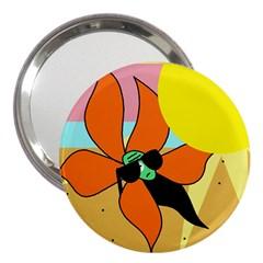Sunflower On Sunbathing 3  Handbag Mirrors by Valentinaart