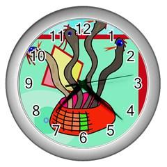 Dancing  snakes Wall Clocks (Silver)  by Valentinaart