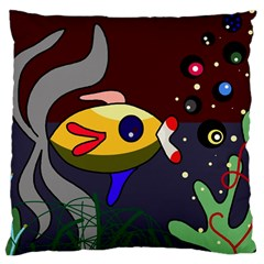Fish Large Cushion Case (two Sides) by Valentinaart