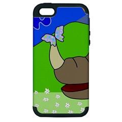 Butterfly And Rhino Apple Iphone 5 Hardshell Case (pc+silicone) by Valentinaart