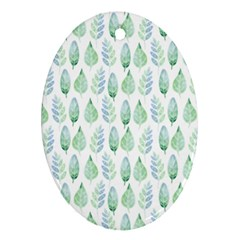 Green Watercolour Leaves Pattern Ornament (oval)  by TanyaDraws