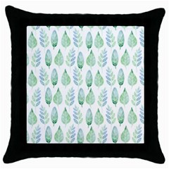 Green Watercolour Leaves Pattern Throw Pillow Case (black) by TanyaDraws