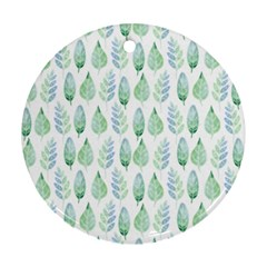 Green Watercolour Leaves Pattern Round Ornament (two Sides)  by TanyaDraws