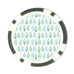 Green Watercolour Leaves Pattern Poker Chip Card Guards by TanyaDraws