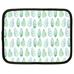 Green Watercolour Leaves Pattern Netbook Case (xl)  by TanyaDraws
