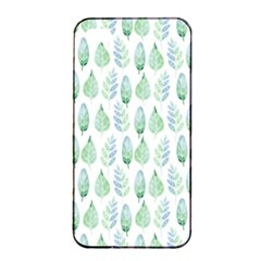 Green Watercolour Leaves Pattern Apple Iphone 4/4s Seamless Case (black) by TanyaDraws