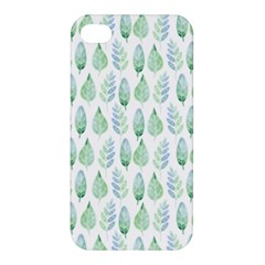 Green Watercolour Leaves Pattern Apple Iphone 4/4s Premium Hardshell Case by TanyaDraws