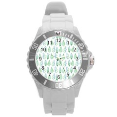 Green Watercolour Leaves Pattern Round Plastic Sport Watch (l) by TanyaDraws
