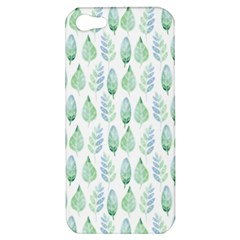 Green Watercolour Leaves Pattern Apple Iphone 5 Hardshell Case by TanyaDraws
