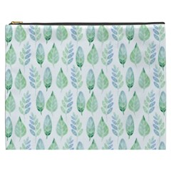 Green Watercolour Leaves Pattern Cosmetic Bag (xxxl)  by TanyaDraws
