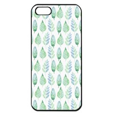 Green Watercolour Leaves Pattern Apple Iphone 5 Seamless Case (black) by TanyaDraws
