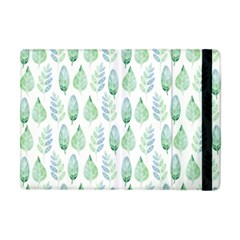 Green Watercolour Leaves Pattern Apple Ipad Mini Flip Case by TanyaDraws