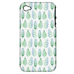 Green Watercolour Leaves Pattern Apple Iphone 4/4s Hardshell Case (pc+silicone) by TanyaDraws